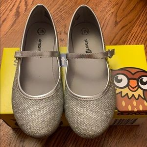 Toddler girl silver metallic shoes